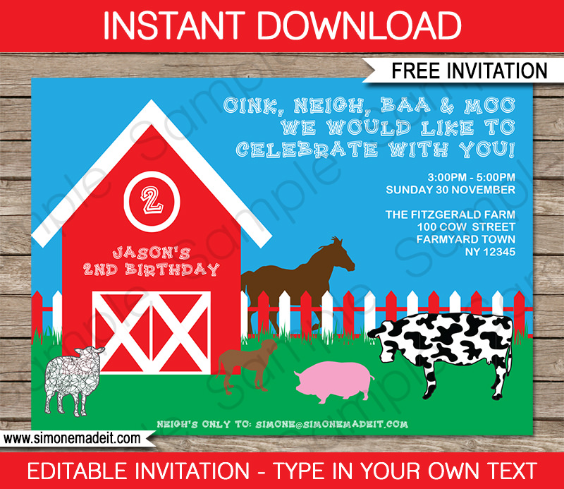 FREE Printable Barnyard Farm Invitation template - free templates for invitations birthday