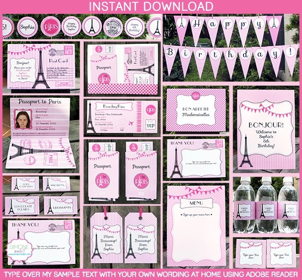 Birthday Party in Paris Invitations  Printable Collection - free printable ticket style invitations