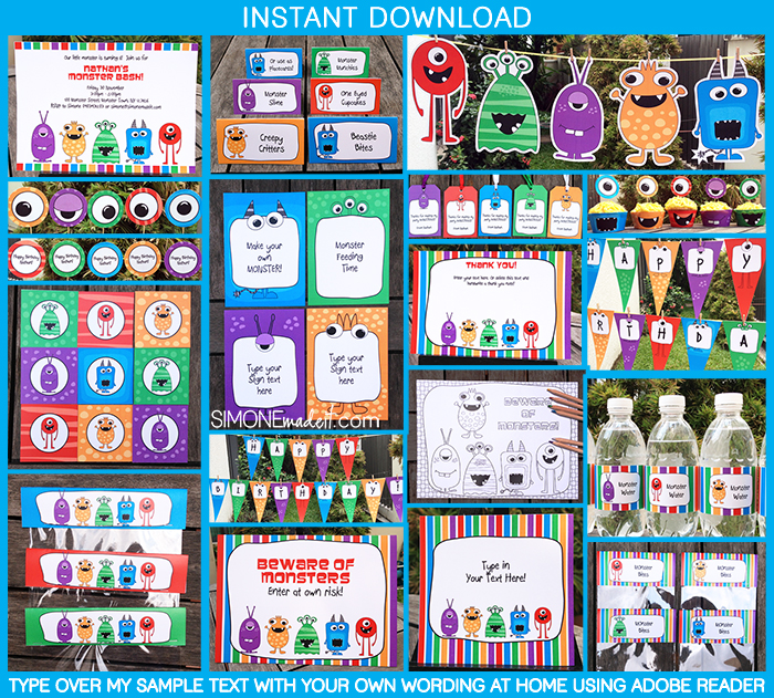 Monster Party Invitations and Decorations Printable Templates