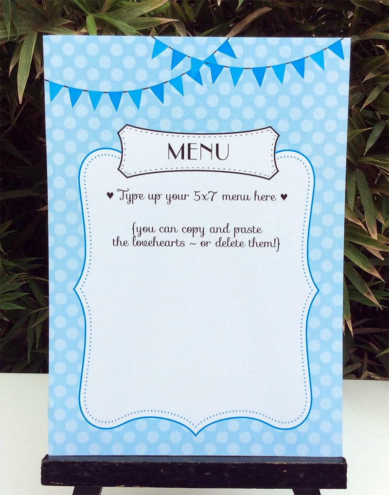 folding menu template