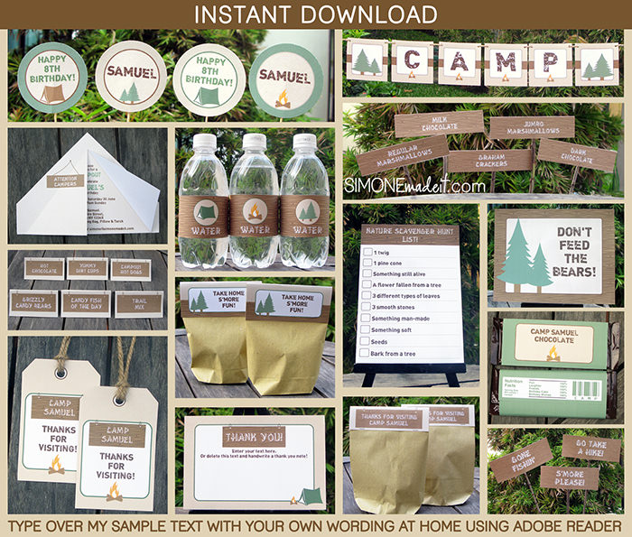 Camping Birthday Party Invitations Party Decorations - free printable camping invitations