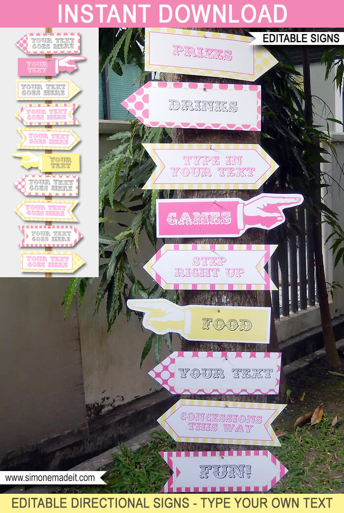 Pink Carnival Directional Signs Arrows Circus Carnival Party