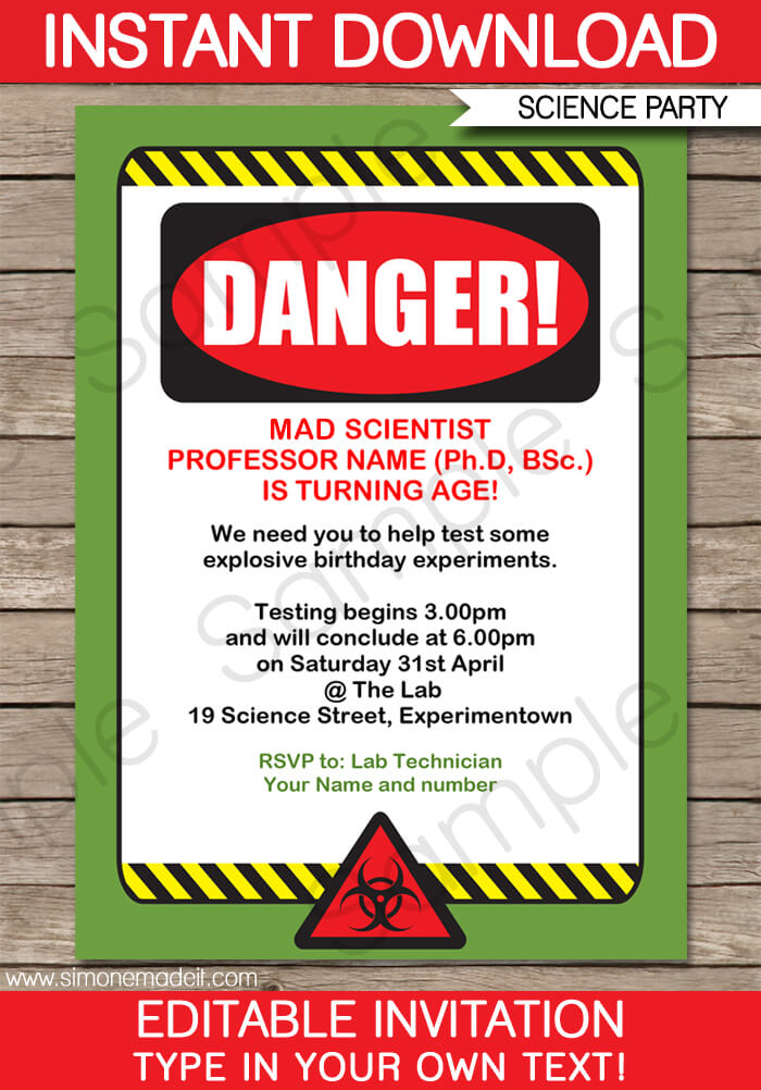 Science Party Invitations Mad Science Birthday Party - birthday party card template