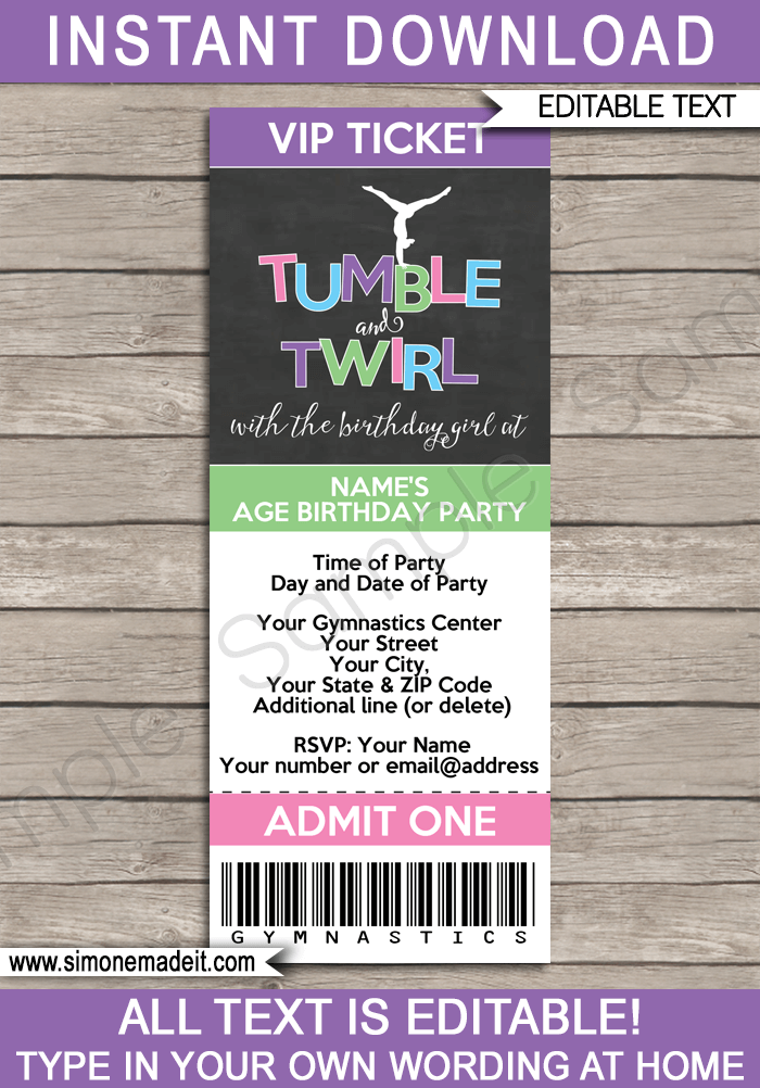 ticket invitations template