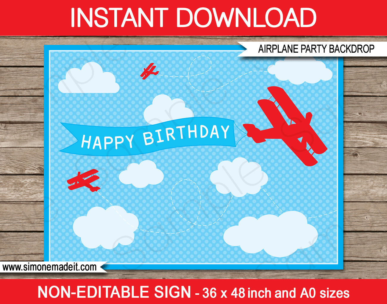 Printable airplane birthday party backdrop sign party decorations diy template instant download 4 50