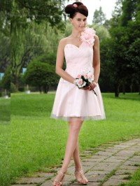 Buy UK Pink Satin Natural One Shoulder A-line Short-length ...
