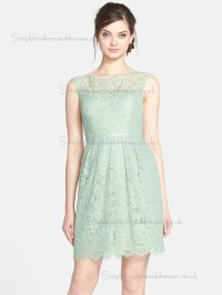 UK Lace Applique Green Mini Bridesmaid Dresses ...