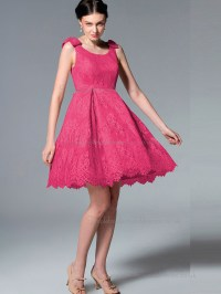 UK Lace Satin Short-length Hot Pink Bridesmaid Dresses ...