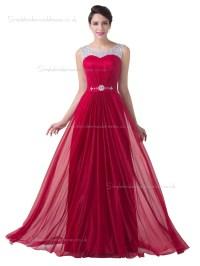 Buy UK Elegant Red Chiffon Floor Length Long Bridesmaid ...