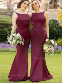 Classic Beautiful Girls Burgundy / Purple Satin Mermaid ...