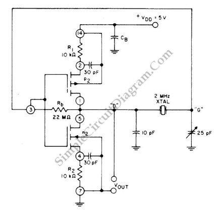 Cmos Pair 2-Mhz Crystal Oscillator \u2013 Simple Circuit Diagram