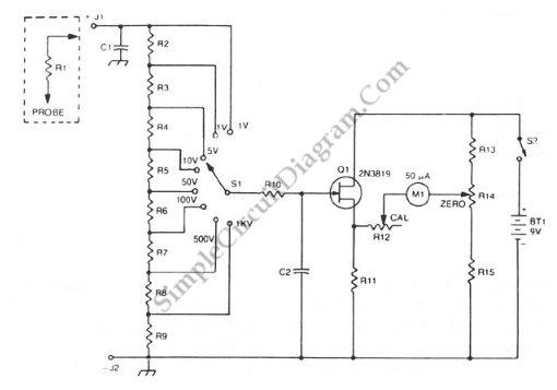 circuit diagram of analog voltmeter