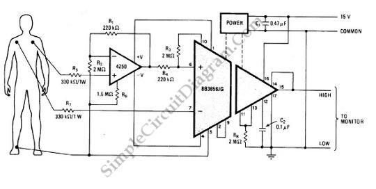 the schematic for the pulse width monitor the heart of the circuit is