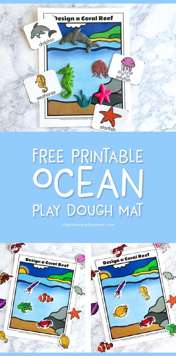 Free Printable Coral Reef Ocean Play Dough Mat For Kids