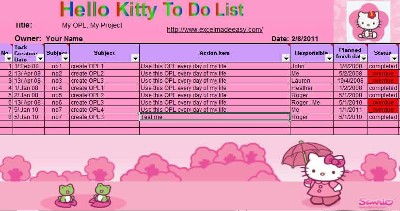 Simple Excel Hello Kitty Open Topic List with Reminders - office to do list template