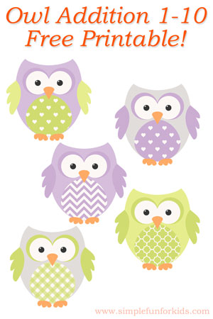 Owl Addition 1-10 Printable - Simple Fun for Kids
