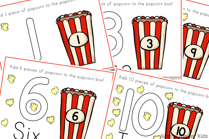 Popcorn Counting Play Dough Mats - Simple Fun for Kids