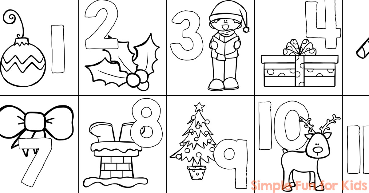 Christmas Countdown Day 1 Advent Calendar Coloring Page - Simple