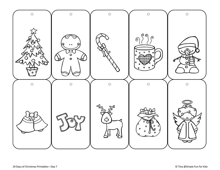 Christmas Countdown Day 7 Color Your Own Printable