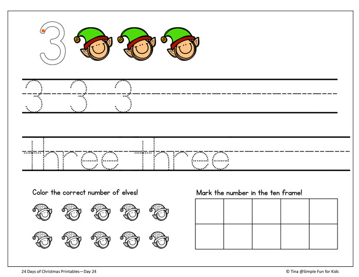 Christmas Countdown Day 24 Christmas Elves Number Writing Practice - Numbers In Writing