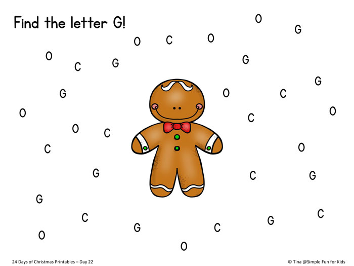 Christmas Countdown Day 22 Gingerbread Letter Find - Simple Fun for