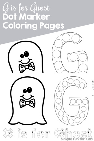 G is for Ghost Dot Marker Coloring Pages Printable - Simple Fun for Kids