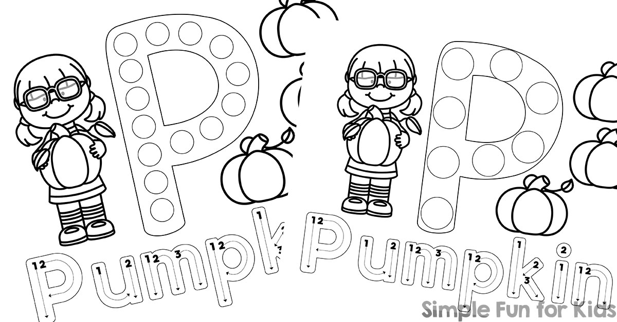 P is for Pumpkin Dot Marker Coloring Pages - Simple Fun for Kids
