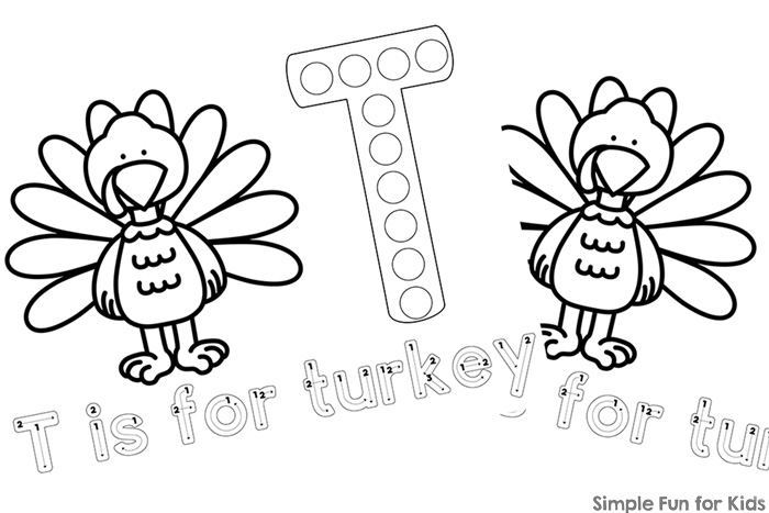 T is for Turkey Dot Marker Coloring Pages Printables - Simple Fun