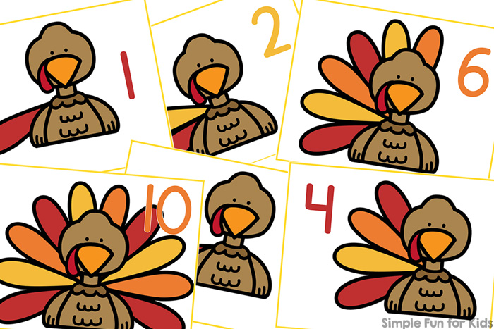 Turkey Feather Counting Cards - Simple Fun for Kids