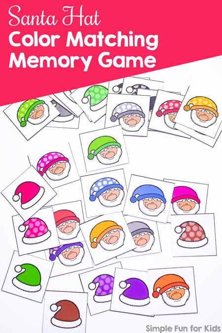 Santa Hat Color Matching Memory Game - Simple Fun for Kids