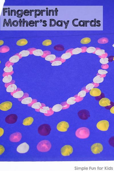Fingerprint Mother\u0027s Day Cards - Simple Fun for Kids