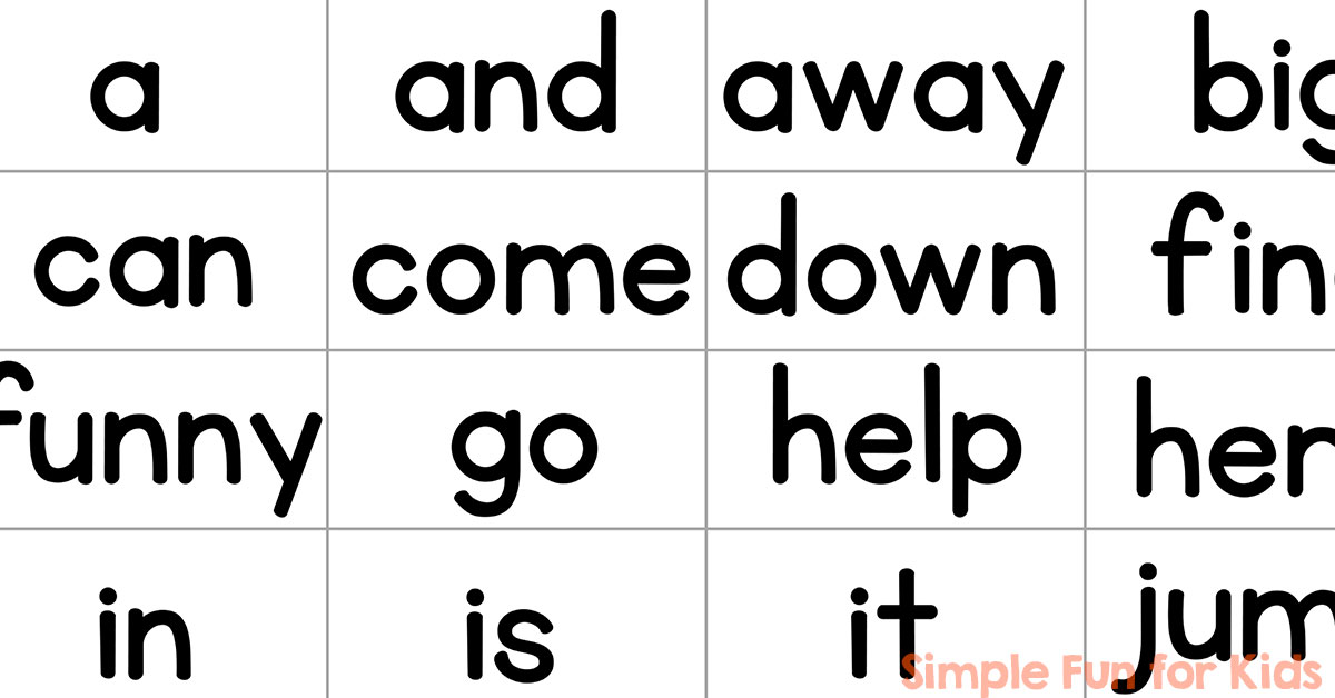 Pre-Primer Sight Word Mini Flash Cards - Simple Fun for Kids - flash cards words