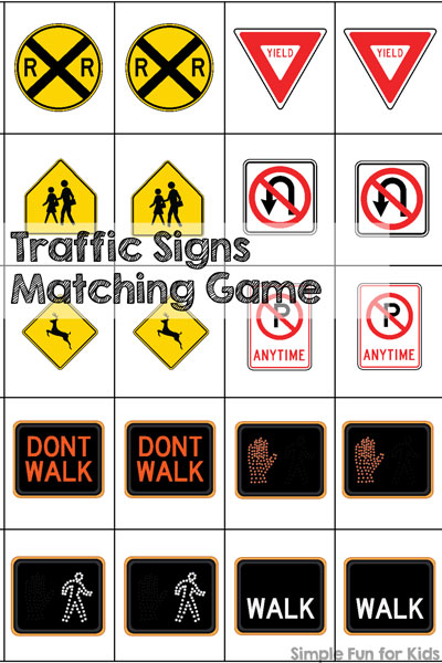 Traffic Signs Matching Game Printable - Simple Fun for Kids