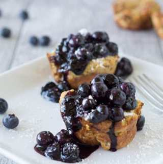 French Toast Muffins with Blueberry Sauce