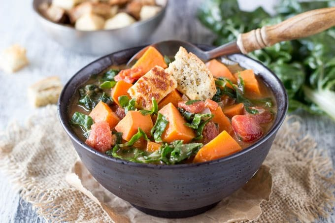 african peanut swiss chard and sweet potato soup - simplehealthykitchen.com