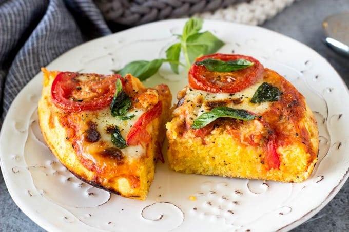 skillet margarita polenta pizza 3 -SimpleHealthyKitchen.com