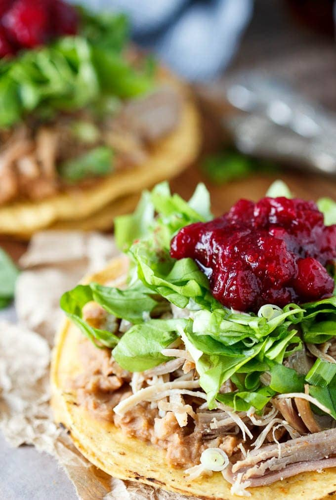 Wondering what to do with that leftover Thanksgiving/Christmas turkey and cranberry? Spice it up with some chipotle and pile it high on a tostada with some refried beans and crisp lettuce, top it all off with a dollop of cranberry sauce and you've got a quick and easy Mexican meal