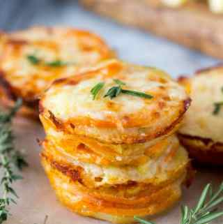 Two Cheese Scalloped  Potato Stacks