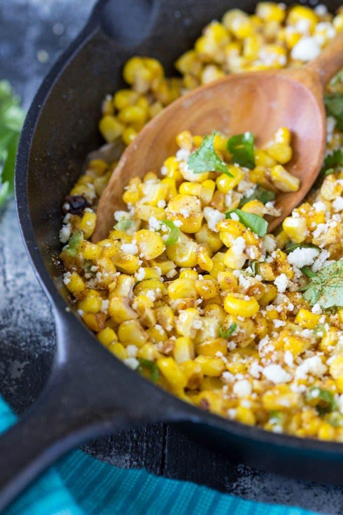 skillet-mexican-street corn add ingredients