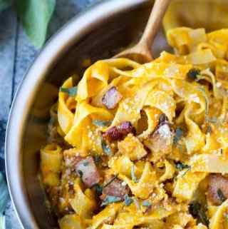 Fettuccine + Pumpkin, Parmesan, Bacon & Sage