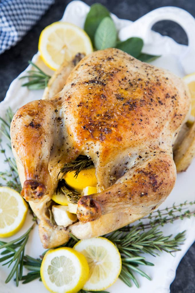roasted-chicken-lemon-garlic-rosemary platter