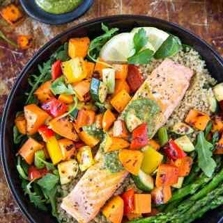 Roasted Salmon + Veggie Bowl