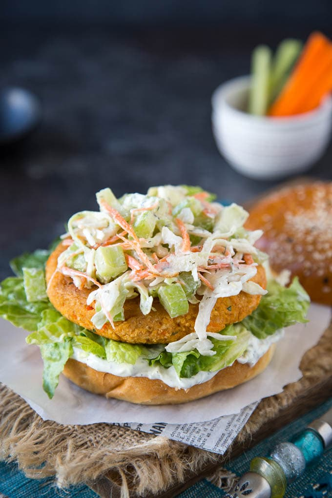 Buffalo Chickpea Veggie Burger {with Ranch Slaw}