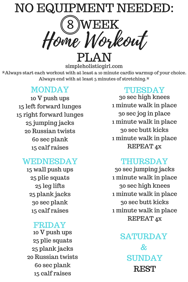 8 Week Home Workout Plan - see post for step by step exercise instructions