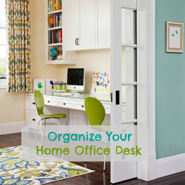 Integrate your work area into another room―like this double-duty nursery/home office―by keeping to a consistent color scheme, pulling it together with a bold patterned piece.