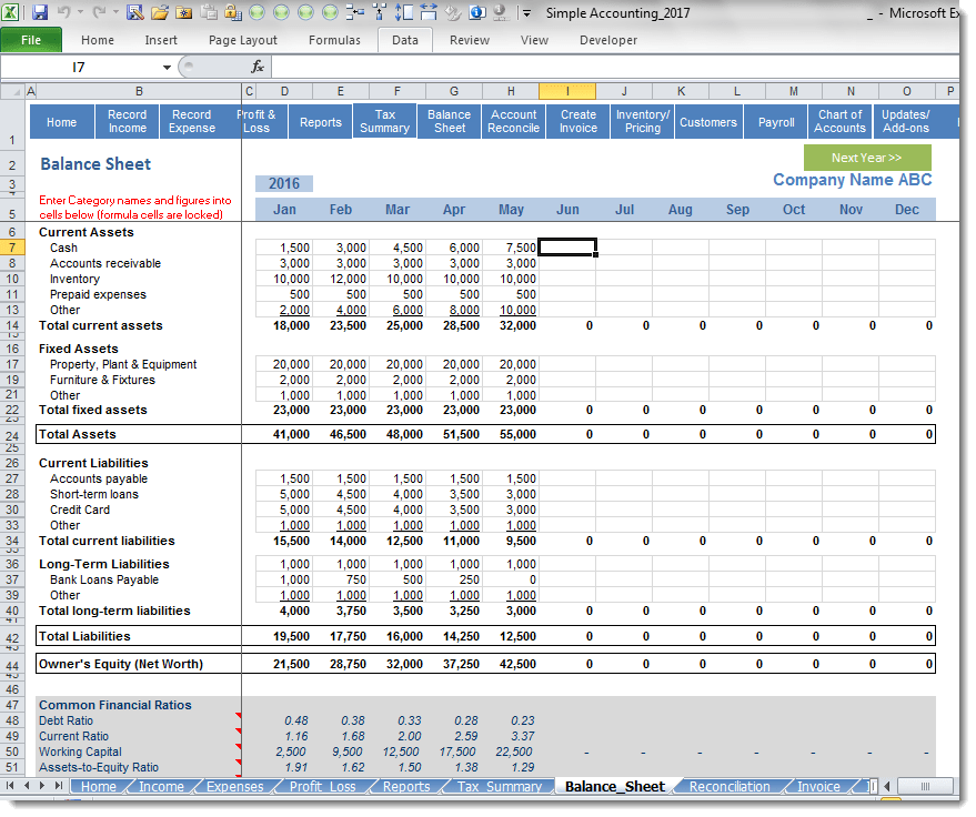 accounting balance sheet template