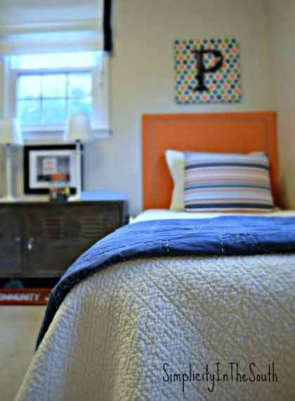 Boy's blue and orange shared bedroom by Simplicity In The South