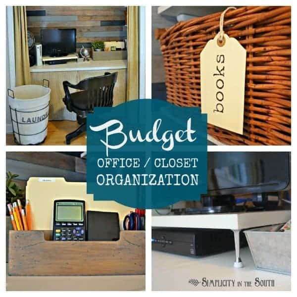 Organized office in a closet. Budget organization ideas from Simplicity In The South