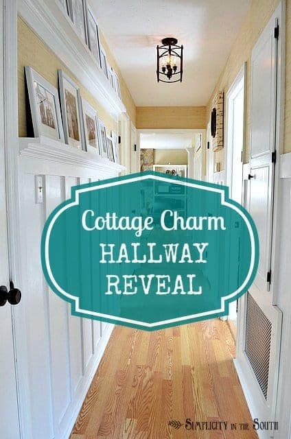 Cottage charm hallway reveal. Board and batten hallway with gallery shelves