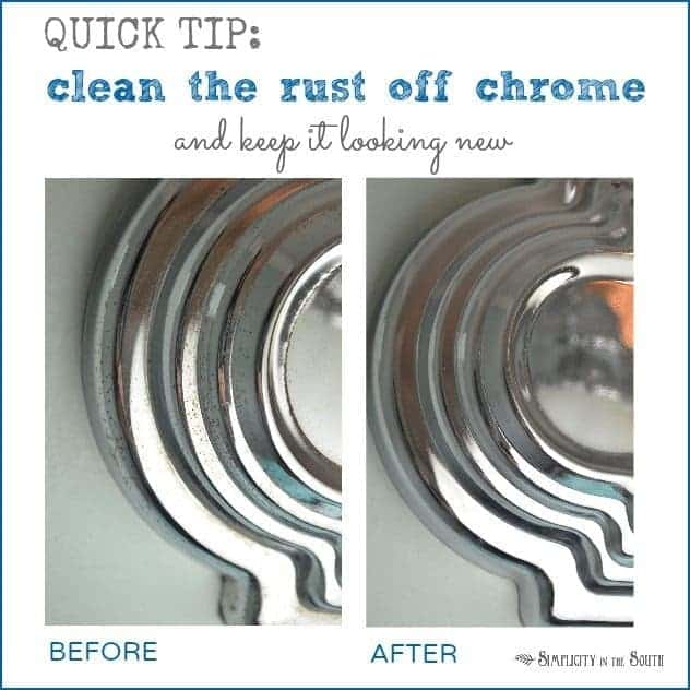 The secret for getting chrome bathroom light fixtures and shower curtain rods clean and preventing rust.
